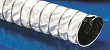 Lightweight flexible ducting hose with clamp profile which is a high temperature abrasion proof and electrically conductive PTFE for aggressive solids, gases and chemicals